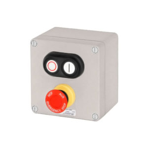 GHG 413 8400 R0003 пост управления. Алюминий. Сдвоенная кнопка DDT (1НР+1НЗ)+кнопка-гриб SGT(E) (1НР+1НЗ)