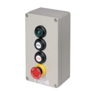 GHG 413 8500 R0001 пост управления. Алюминий. Сигнальная лампа SIL+кнопки: DRT (1НР+1НЗ) + DRT (1НР+1НЗ)+кнопка-гриб SGT(E) (1НР+1НЗ)
