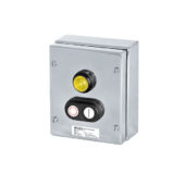 GHG 414 8100 R0002 пост управления. Нержавеющая сталь. Сигнальная лампа SIL + сдвоенная кнопка DDT (1НР+1НЗ)