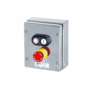 GHG 414 8100 R0003 пост управления. Нержавеющая сталь. Сдвоенная кнопка DDT (1НР+1НЗ)+кнопка-гриб SGTE (1НР+1НЗ)