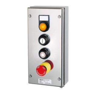 GHG 414 8200 R0001 пост управления. Нержавеющая сталь. Сигнальная лампа SIL+2 кнопки DRT (1НР+1НЗ)+кнопка-гриб SGT(E)(1НР+1НЗ)
