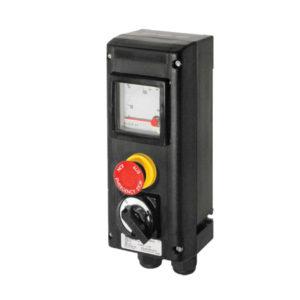 GHG 434 0111 R0010 пост управления. Измерительный прибор АМ72+кнопка-гриб SGT(E) (1НР+1НЗ)+переключатель Ex23 двухпозиционный O I